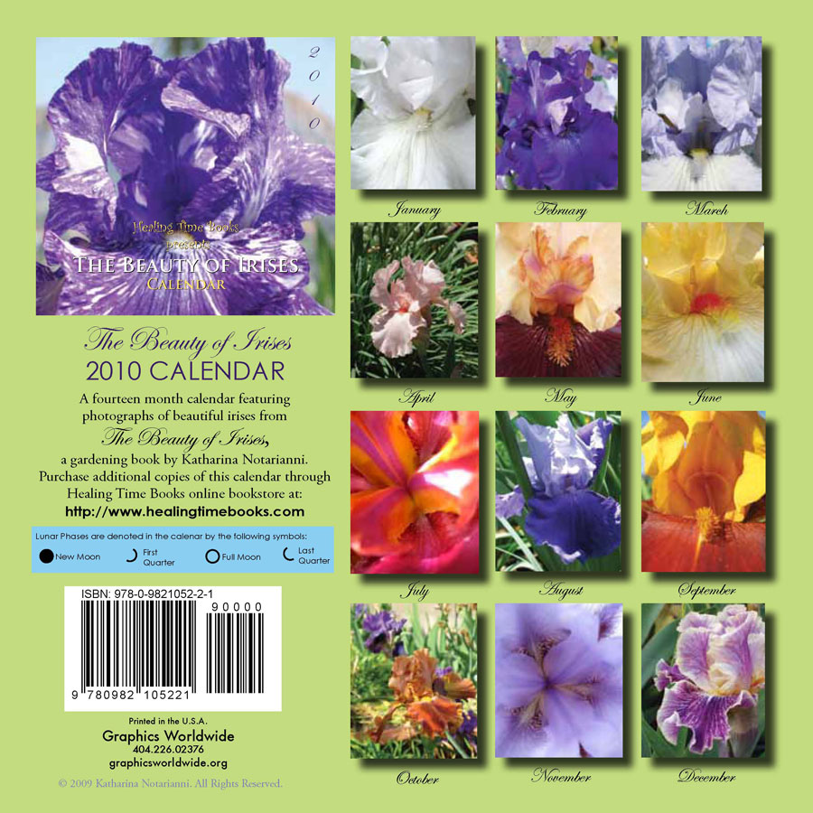 2010 Wall Calendar - The Beauty of Irises - Details